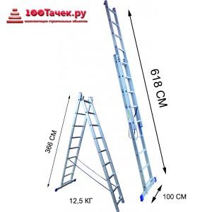 Лестница 13 ступеней двухсекционная