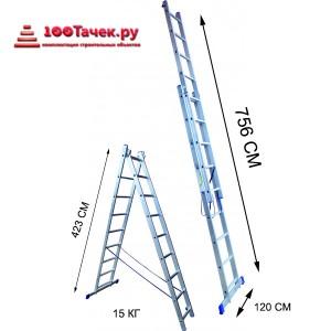 Лестница 15 ступеней двухсекционная