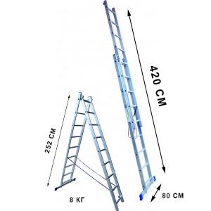 Лестница 9 ступеней двухсекционная
